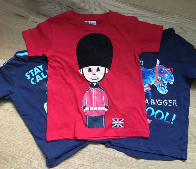 Photo of some of Quinns' t-shirts