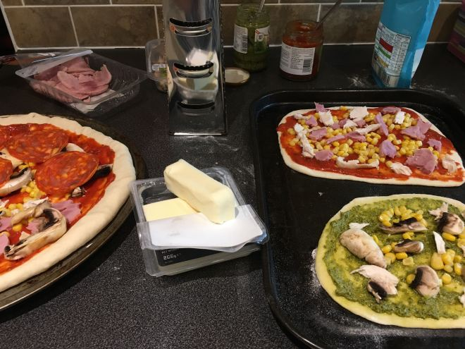 Preparing homemade dairy free and non-dairy free pizza