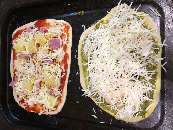 Pizza ready to go in the oven