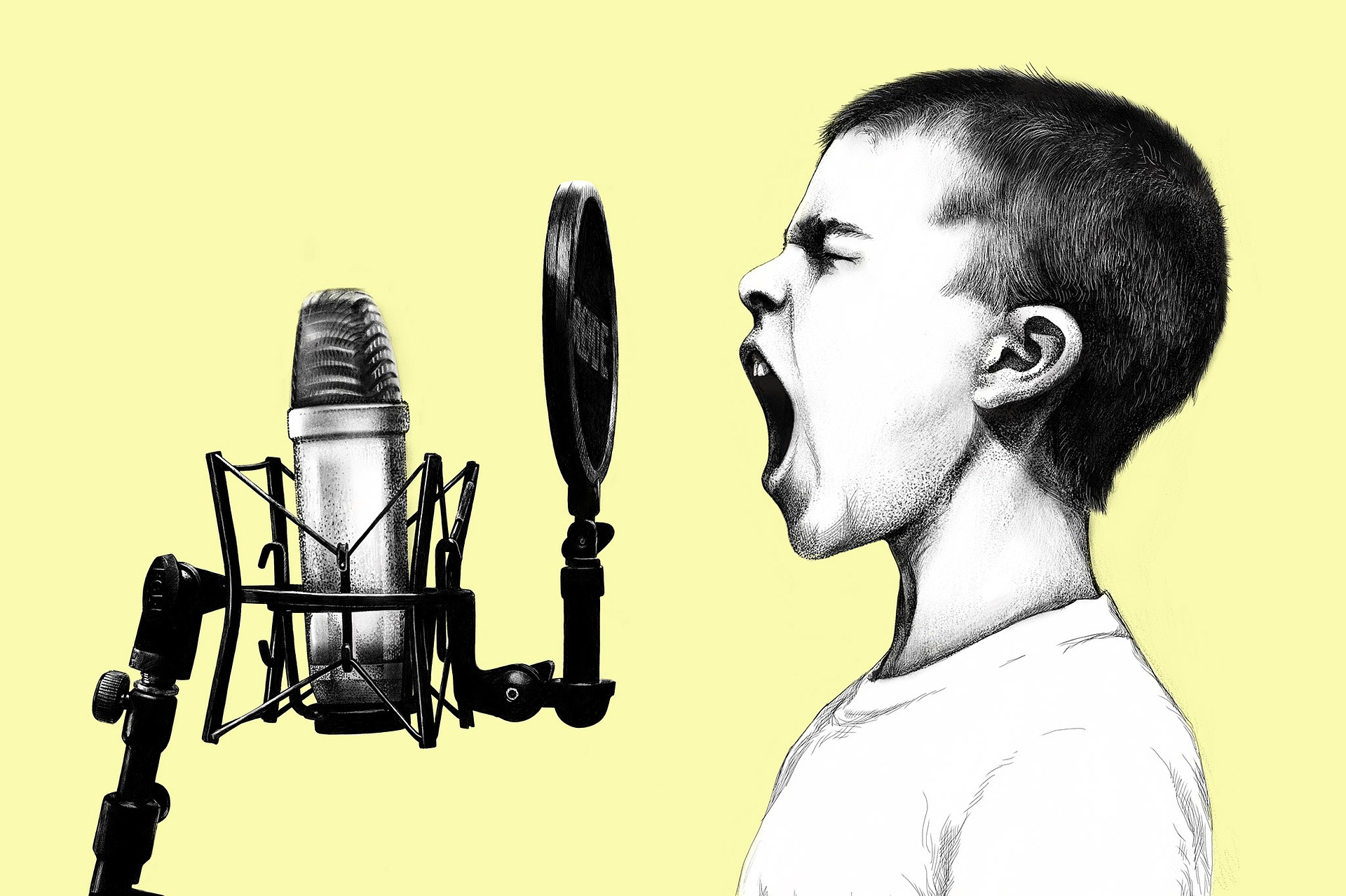 Pencil line illustration of a young boy shouting into a microphone.